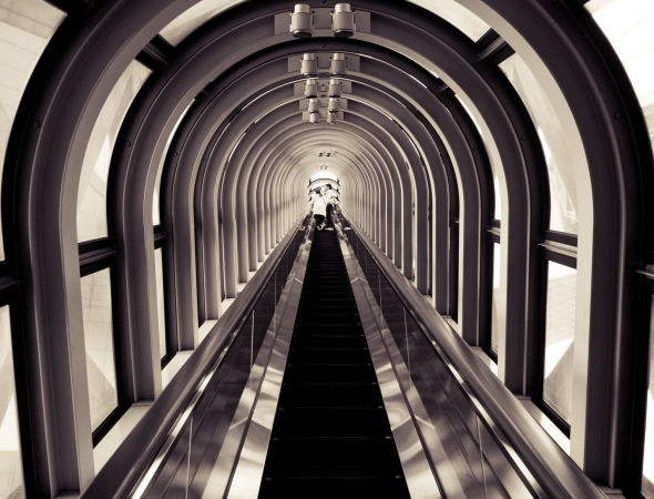 The tunnel looking encapsulated escalator ride to the Floating Garden on Level 39